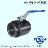 Vávula de bola de alta presión del acero de carbón 3PC con la cuerda de rosca femenina