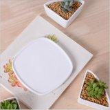 Weißer keramischer Flowerpot mit dreieckige geformte Unterseite sortierten kalten Tellern