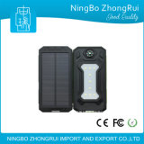 2017 Novos produtos ao ar livre úteis Waterproof Solar Power Bank 10000mAh Carregador solar Compass Flash Light LED Light para Camping