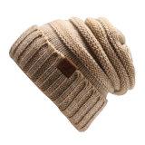 Parche de Leath punto Beanie sombrero de las mujeres de moda