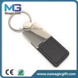 Trousseau de clés en cuir tournant promotionnel de premières ventes avec le logo de gravure de laser