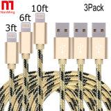 Synchronisierungs-aufladengewebe Nylon gesponnenes Mfi zugelassenes Aufladeeinheits-Kabel USB-8pin für iPhone