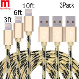 Sync iPhone를 위한 비용을 부과 직물 나일론에 의하여 길쌈되는 Mfi에 의하여 증명되는 8pin USB 충전기 케이블