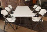 中国Supplier School Furniture Wholesale食堂Furniture White Plastic Folding TablesおよびChairs