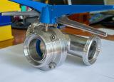 Válvula de mariposa multi de la manera del tipo tres del control T del acero inoxidable con la maneta del tirón