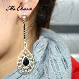 수정같은 모조 다이아몬드 귀걸이 금 색깔 매다는 귀걸이