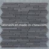 Schwarze Natur-Basalt-Mosaik-Fliese für Bodenbelag und Ummauerung