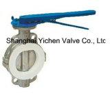 Válvula de borboleta alinhada PTFE manual da bolacha do aço inoxidável (D71X46)