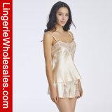 Пижама шнурка женское бельё сексуального эмулирования женщин Silk замыкает накоротко Sleepwear комплектов