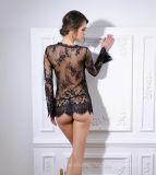 Lingerie s'usante de sommeil transparent Long-Sleeved de lacet