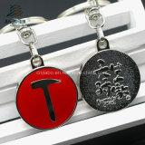 Trousseau de clés symbolique d'émail de pièce de monnaie ronde en alliage de zinc dure en métal avec le logo fait sur commande