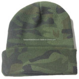 OEM Produz o logotipo personalizado Printed Army Green Sports Custom Made Knitted Beanie Cap