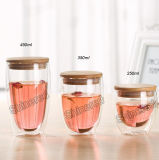 Tazza di vetro fatta a mano di nuovo disegno tazza di tè doppia per i Giftware