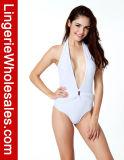 Heiße verkaufende reizvolle Damen einteilige Monokini weiße Tiefe-v Halter-Badebekleidung