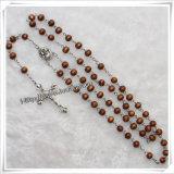 Più nuovo rosario di legno rotondo marrone chiaro dei branelli (IO-cr250)