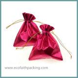 Мешок подарка Drawstring сатинировки для празднества рождества