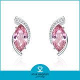 Самый лучший продавая розовый CZ обивает серебр 925 серег (SH-J0031)