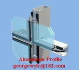 Perfil de aluminio revestido de la protuberancia del polvo para la pared de cortina