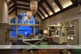 白い浜様式のゲラの引込めパネル(WH-D267)が付いている開いた概念の食器棚