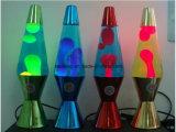 明確な液体の溶岩ランプ-元の標準的なデザイン銀ベース-現代気分ライト