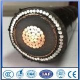 18/30 (36) de quilovolts XLPE isolaram o cabo elétrico Sheathed PVC da tensão média blindada metálica da tela