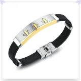 De Armband van het Silicone van de Juwelen van het Roestvrij staal van de Juwelen van de manier (LB221)
