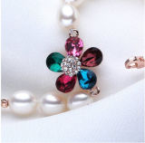 淡水の真珠のブレスレットAAA 7-8mmの低下の金張りの方法真珠のブレスレット