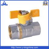 Санитарный латунный шариковый клапан с ручкой бабочки для газа (YD-1024)