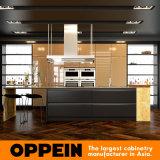 Dunkles Luxuxgoldhölzerne Lack-Küche-Schränke mit Insel (OP16-L20)