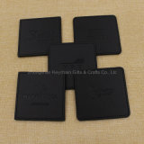 Custom Square Black PU Coaster de couro com logotipo da empresa
