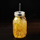 Muratore Glass Jar con Straw e Metal Lid
