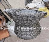 屋外の藤または枝編み細工品のソファーの余暇の庭の家具を回す360度