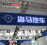 Diodo emissor de luz Backlit cromo do PVC que anuncia o sinal do logotipo