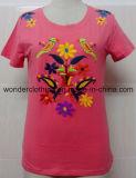 T-shirt rond fait sur commande de mode de cou de broderie en gros de coton de fille