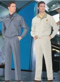濃紺の安い綿のあや織りのつなぎ服のユニフォーム(W11)
