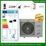 Pompa termica di sorgente di aria di Dhw 12kw/19kw/35kw Evi dell'acqua calda della sala +55c del riscaldamento di pavimento di zona di inverno della Svezia -25c Monobloc