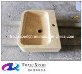 Bassin de meubles de cuisine et lavabo de marbre jaunes ensoleillés de salle de bains