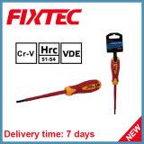 La mano di Fixtec lavora il cacciavite isolato 100mm di 4mm con la maniglia dell'isolamento