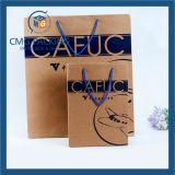 Bolso caliente azul del regalo del papel de Kraft de la impresión de la hoja (DM-GPBB-160)