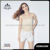 Mouwloos onderhemden van de Zomer van het Gewas van de Ontwerpen van vrouwen de Parel Geborduurde