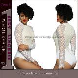 Mangas compridas laço corpete alto pescoço luxuoso bodysuit peluche (T32032-1)