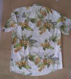 Gli uomini del cotone pettinati 100% bruscamente collegano le camice con un manicotto hawaiane