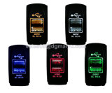 보편적인 Carling Rocker Style Dual USB Power Socket Charger 12V 24V Laser Etched Blue LED Wiring SUV
