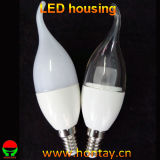 C37 Plastic LED Candle Light Bulb Housing with Tail