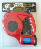 Trela retrátil do cão com luz de piscamento do diodo emissor de luz & suporte do saco do desperdício