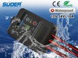 Mode de charge Contrôleur Suoer contrôleur de charge solaire 10A 12V Prix usine Solar Power Controller PWM étanche IP67 année (ST-F1210)