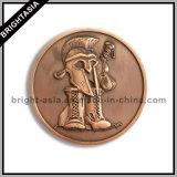 Moneta in lega di zinco 3D con un marchio dei due lati con rivestimento Bronze (BYH-101125)