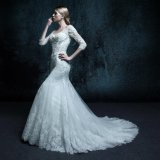 Real Photo Lace up Mermaid Appliques Wedding Dress (ZXB-28)