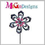 Grande estaca do jardim do girador do vento da flor do metal popular