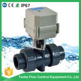 Manera plástica motorizada eléctrica de la vávula de bola del PVC IP67 2